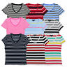 Tommy Hilfiger Womens T-shirt V-neck Short Sleeve Striped Tee Flag Logo New Nwt
