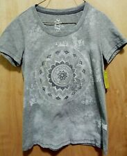 NWT Made For Life Ladies Gray Shinny Circle Design Short Sleeve Top Size S