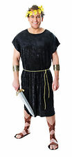 Mens Roman Costume Black Greek Spartan Tunic Fancy Dress Stag Outfit M/L New