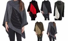 Womens Knitted Poncho Three Button with Leaf Wrap Shawl Jumper Top Cardigan 8-16