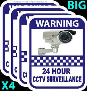 CCTV Camera Warning Stickers Surveillance Vinyl Decal Video Security Sign X4