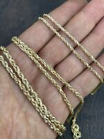 """Real 14K Gold Rope Chain ITALY MADE 16""""-30"""" 2mm 3mm 4mm Mens Ladies Necklace"""