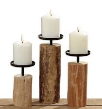 3er Set Kerzenständer Kerzenleuchter indisches Eukalyptus Holz H: 15,5 19 24 cm