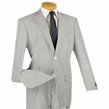 VINCI Men's Black Striped Seersucker 2 Button Classic Fit Suit 100% Cotton NEW