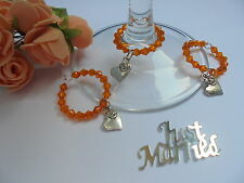 75 Orange Wine Glass charms with Rose & heart charm  - Great Wedding  Favour