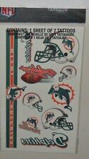 NFL MIAMI DOLPHINS SHEET OF 7 TEMPORARY TATTOOS FAST FREE SHIPPING