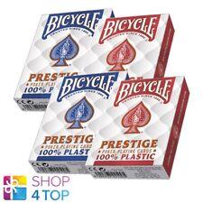 4 Jeux BICYCLE Prestige 100% Plastique Poker Playing Cartes Géant 2 Rouge 2 Bleu