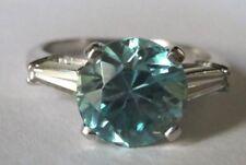 Vintage Antique Platinum Blue Zircon Diamond Ring Size 6