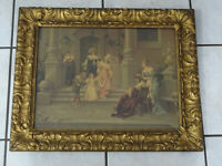 Large Victorian Style Gold Gilt Picture Frame w Courtyard Meeting Scene 21x26""