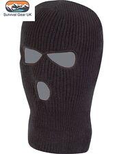 Black Knitted 3 Hole SAS Balaclava Army Ski Mask Winter Fishing Paintball Hat