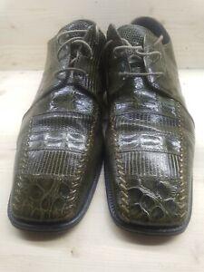David Eden Crocodile Skin Green Size 12 Mens Shoes Rare Color Oxford Square Toe