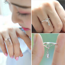 1 Piece S925 silver small droplets ring size adjustable