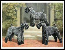 Kerry Blue Terrier Three Dogs Lovely Vintage Style Dog Print Poster