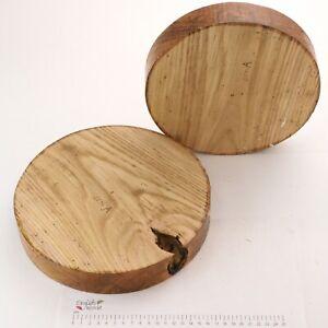 2 English Sweet Chestnut wormy wood turning bowl blanks. 230 & 255 x 43mm. 6271A