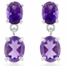 GLAMOROUS 3.8 CARAT AMETHYST STERLING SILVER OVAL SHAPED DANGLING EARRINGS