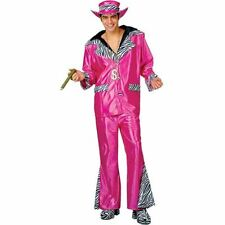 PINK PIMP DADDY COSTUME 70'S GANGSTA BLING FANCY DRESS - LARGE