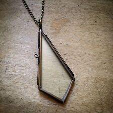 2-Sided Antique Bronze  Diamond Tear Glass Frame Necklace Vintage Style Locket