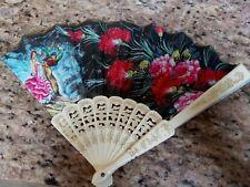 Vintage Hand Fan Spain Spanish Bull Matador Veiled Women Cloth Souvenir