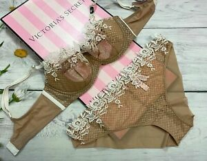 NWT Victoria's Secret Dream Angels Unlined Embroide Bra Set Beige/Coconut White