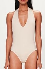 American Apparel Cotton Spandex Jersey Halter One Piece Bodysuit Nude Large