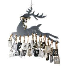 Advent Calendar Reindeer Elk Deer 24 Bag Christmas Advent Gunnysack Wood