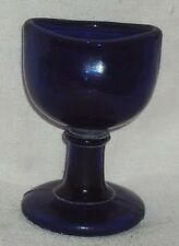 VINTAGE EYE WASH CUP OCTAGONE BLUE PRESSED GLASS WOOD BROTHERS England c1910s