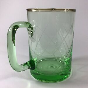 Green Glass Mug with Etched Criss CrossPattern 16oz EC