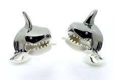 Deakin and Francis Sterling Silver Large Shark Head Cufflinks