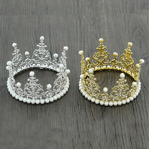 """Mini Crown Cake Topper Pearl Crystal Wedding Party Pageant Prom 4.7"""" Wide 2.8"""" H"""