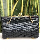Lilly Pulitzer Black Wicker Purse Handbag Clutch Straw Woven Bag Pink Floral