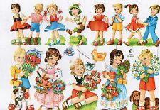 1 Bogen Glanzbilder Poesie Kinder mit Blumen Katze Hund ef 7030 Nr.722
