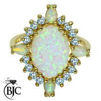 BJC 9ct Oro Amarillo Ópalo OVAL & Topacio Azul Talla P Grande Anillo R198