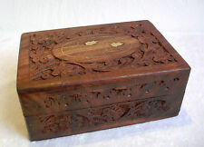 "Hand Carved Wooden Box - Small 6"" x 4"" / 15cm x 10cm"