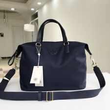 Tory Burch Travel Nylon Handbag Navy Blue Authentic