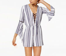 Xoxo NEW Juniors' Medium Striped Bell-Sleeve Lace-Up Romper, White/Navy