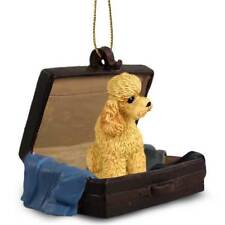 Poodle Apricot Sport Cut Traveling Companion Dog Figurine In SuitCase Ornament