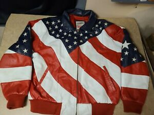 WHEREMI Michael Hoban Patriotic American Flag Leather Bomber Jacket L Red Blue