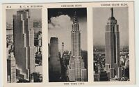Unused Postcard RCA Building Chrysler Bldg Empire State Bldg New York City NYC