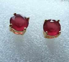 Classic round red rubies 7mm 18k yellow gold filled stud earrings BOXED Plum UK