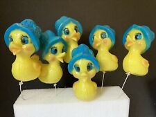 """Large Colorful Plastic Easter Chick Picks ~ Lot of 6 ~ 5 1/4"""" high."""