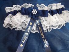PERSONALISED NAVY BLUE AND IVORY BRIDES WEDDING GARTER ~ BOXED