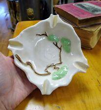 Nice Antique Roseville Art Pottery Ming Tree White Ashtray! 599