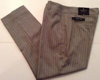 Worthington Womens Dress Ankle Capri Pant Modern Slim Gray Pinstripe 6S Short