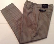 Worthington Womens Dress Ankle Capri Pant Modern Slim Gray Pinstripe 14S Short