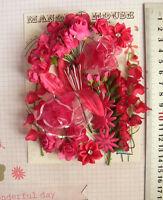 RASPBERRY PINK - 27 Flowers - 8 Styles - PAPER & SILK Flowers 5-70mm D HH