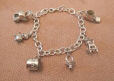 vintage sterling silver detailed baby charm and bracelet 6 bear carriage shoe