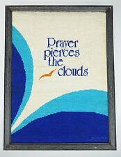 Prayer pierces the clouds Bird Needlepoint Framed Picture Art Vtg 80s