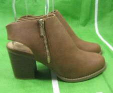 "new Tan 3.5""high block Heel Round Toe back strap  Sexy Ankle Boots Size 10"