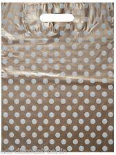 50 Plastiktüten Tragetaschen im Punkt Look Weiß/Gold 30x40cm Neutral TOP