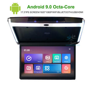 "17.3"" IPS WIFI Android 9.0 Car Screen Monitor Ceiling Roof HDMI USB FM Bluetooth"